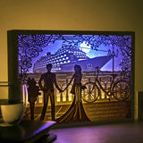 Vibes Genius 922US Papercut Light Boxes, Novelty Decor Light Style, Newlywed Engagement Wedding Gift Idea for Couples, Groom and Bride, Bridal Shower, Her and Him, Present to Wife or Husband