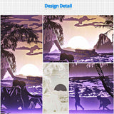 Text Customizable Papercut Light Boxes - Sunset on the beach 930