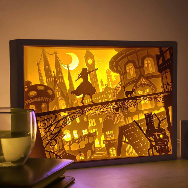 Papercut Light Boxes - Girl and her cat in magic world