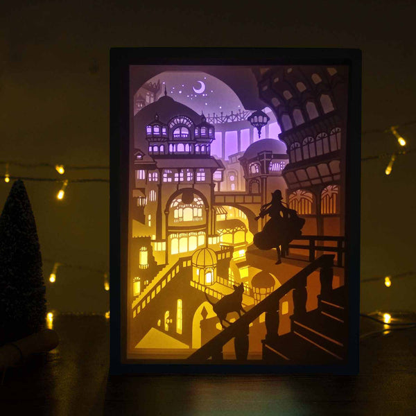 Papercut Light Boxes - Princess And Her Cat In Palace