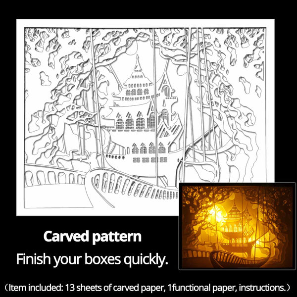 Machine engraved hollow paper for DIY papercut light boxes-945