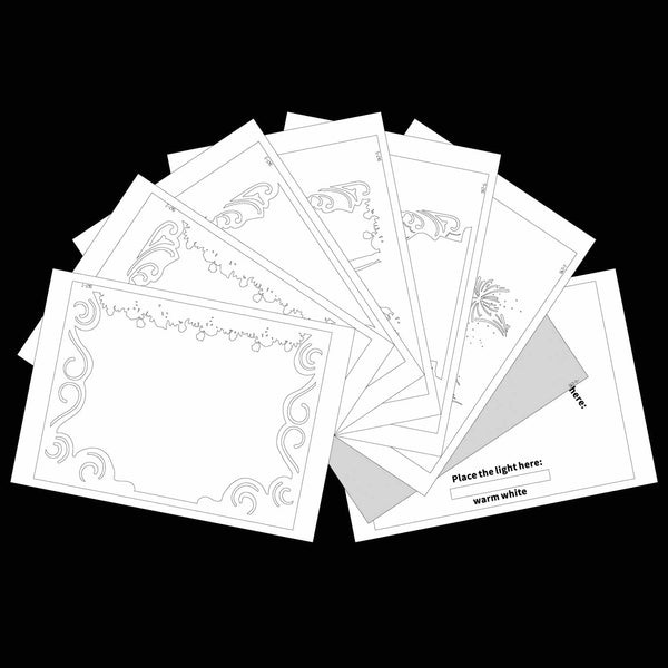 Uncut Printed Pattern for DIY Papercut Light Boxes-947
