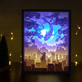 Papercut Light Boxes - The cat and magical huge fish