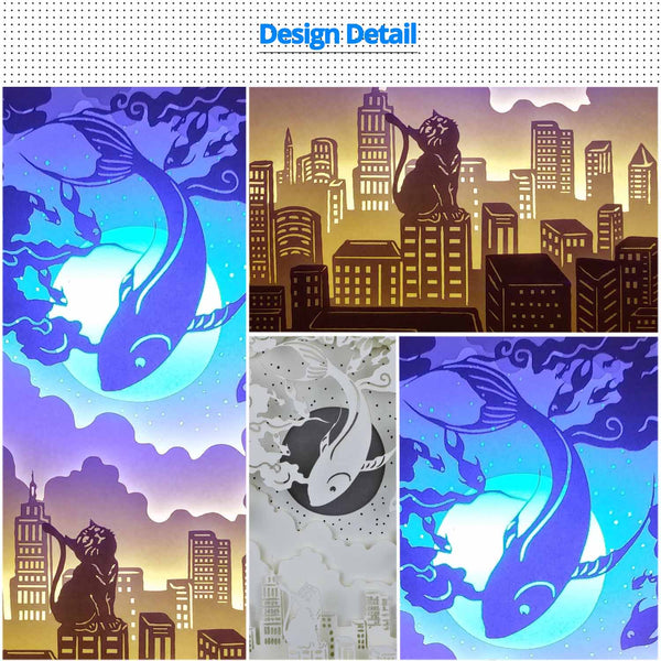 Share to Get 50% OFF ! Best Diy Project and Discount for Stay-at-home - Printed Pattern Template Files of Papercut Light Boxes,950,The cat and magical huge fish