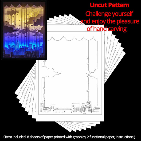 Uncut Printed Pattern for DIY Papercut Light Boxes-951