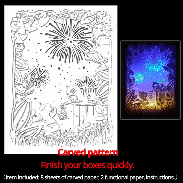 Machine engraved hollow paper for DIY papercut light boxes-961