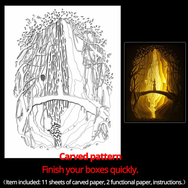 Machine engraved hollow paper for DIY papercut light boxes-964