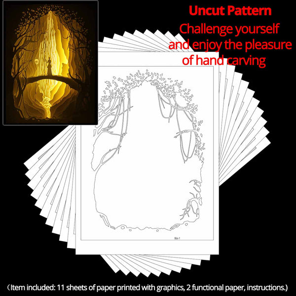 Uncut Printed Pattern for DIY Papercut Light Boxes-964