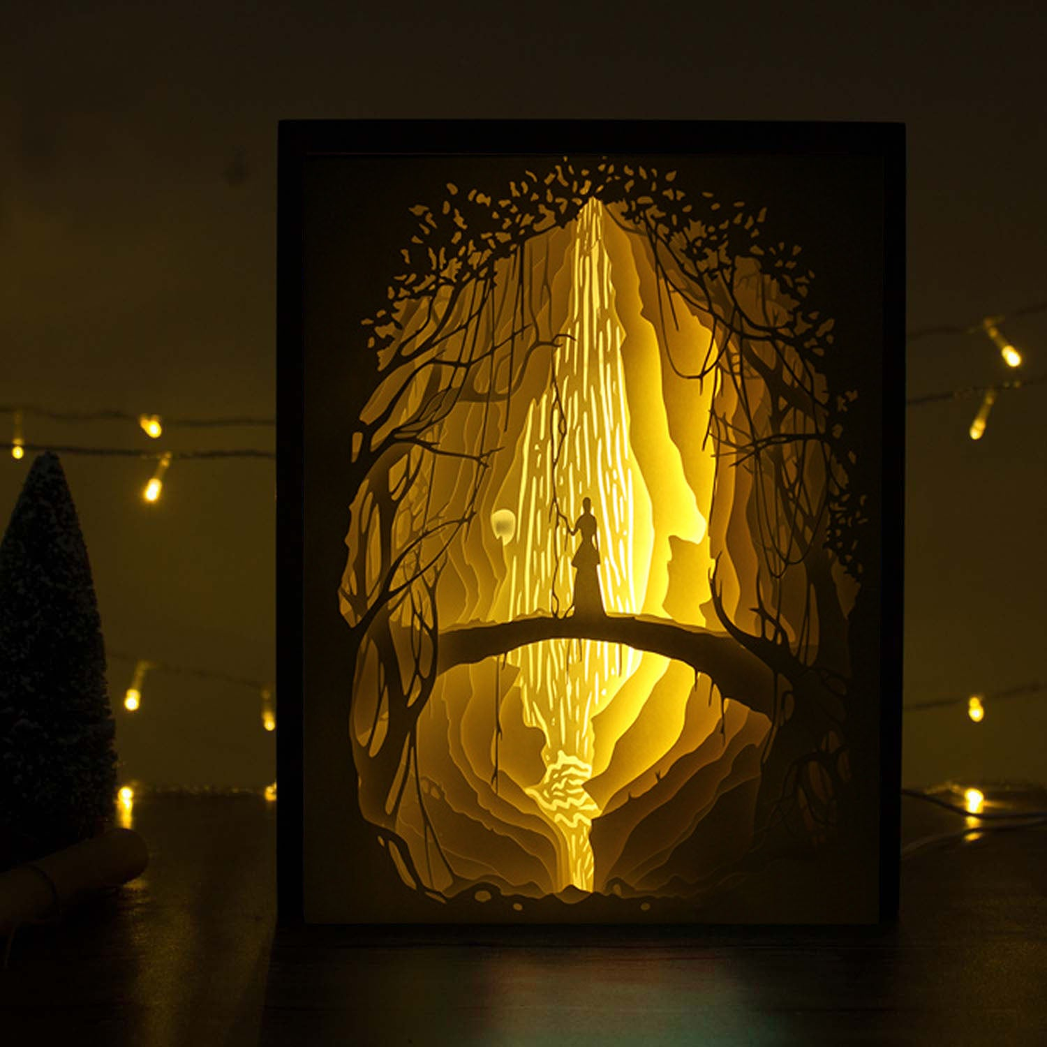Papercut Light Boxes - Girl before fire waterfall | VibesGenius