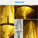 Papercut Light Boxes - Girl before fire waterfall