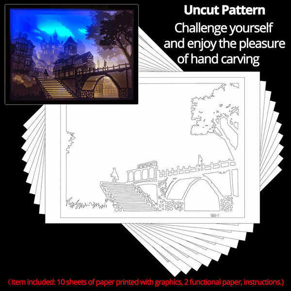 Share to Get 50% OFF ! Best Diy Project and Discount for Stay-at-home - Printed Pattern Template Files of Papercut Light Boxes,965,The castle