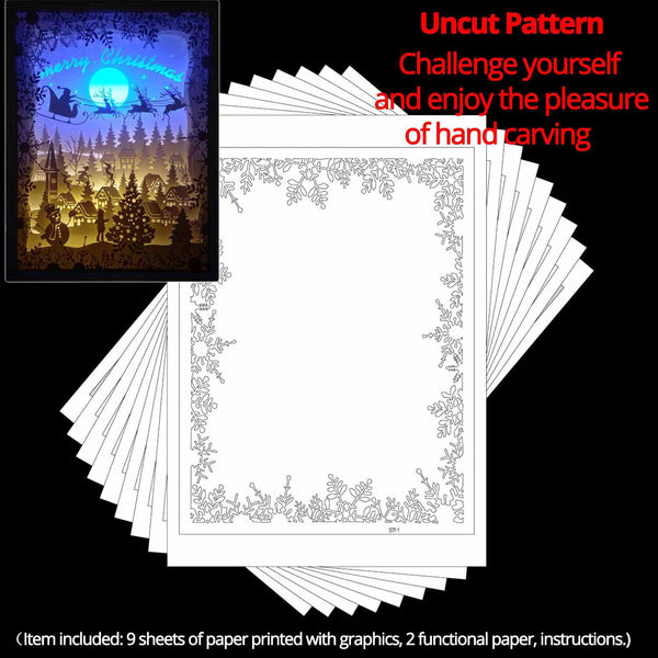 Uncut Printed Pattern for DIY Papercut Light Boxes-971