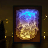 Papercut Light Boxes - The Dragon attacked the castle