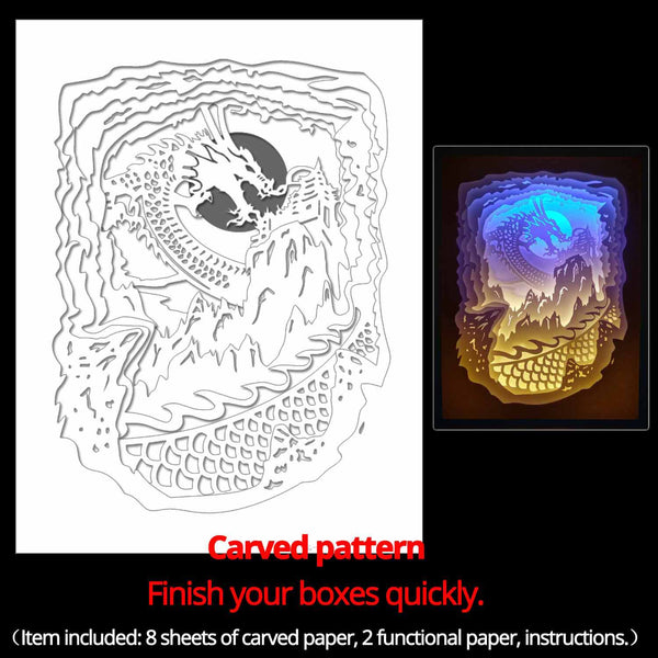 Machine engraved hollow paper for DIY papercut light boxes-974