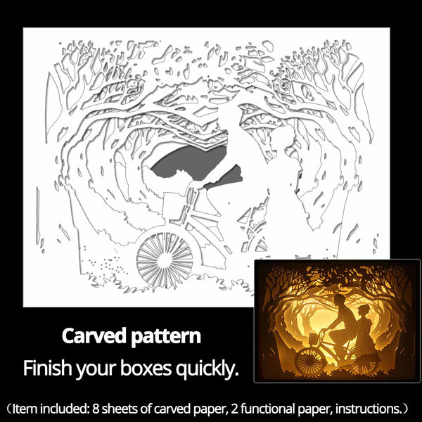 Machine engraved hollow paper for DIY papercut light boxes-976