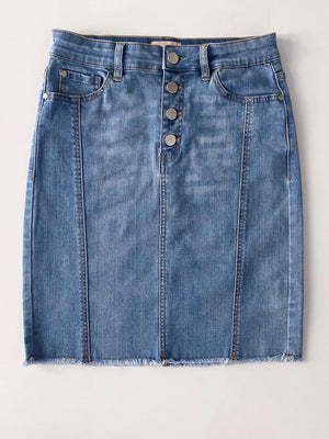 Sierra Denim Skirt : light Blue : Raw Edge