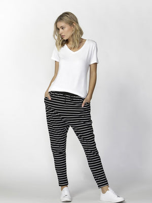 Jade Relaxed Fit Pants by Betty Basics : Black & White Stripe