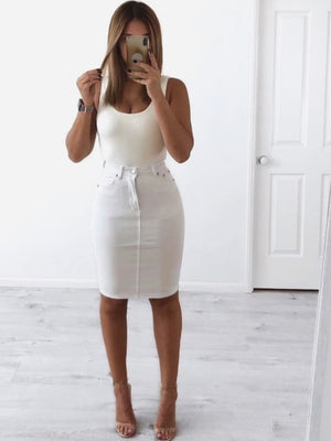 Kylie Skirt : White Stretch Denim (2 for $90)