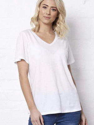 Saint Rose Andi V - Neck Tee : White