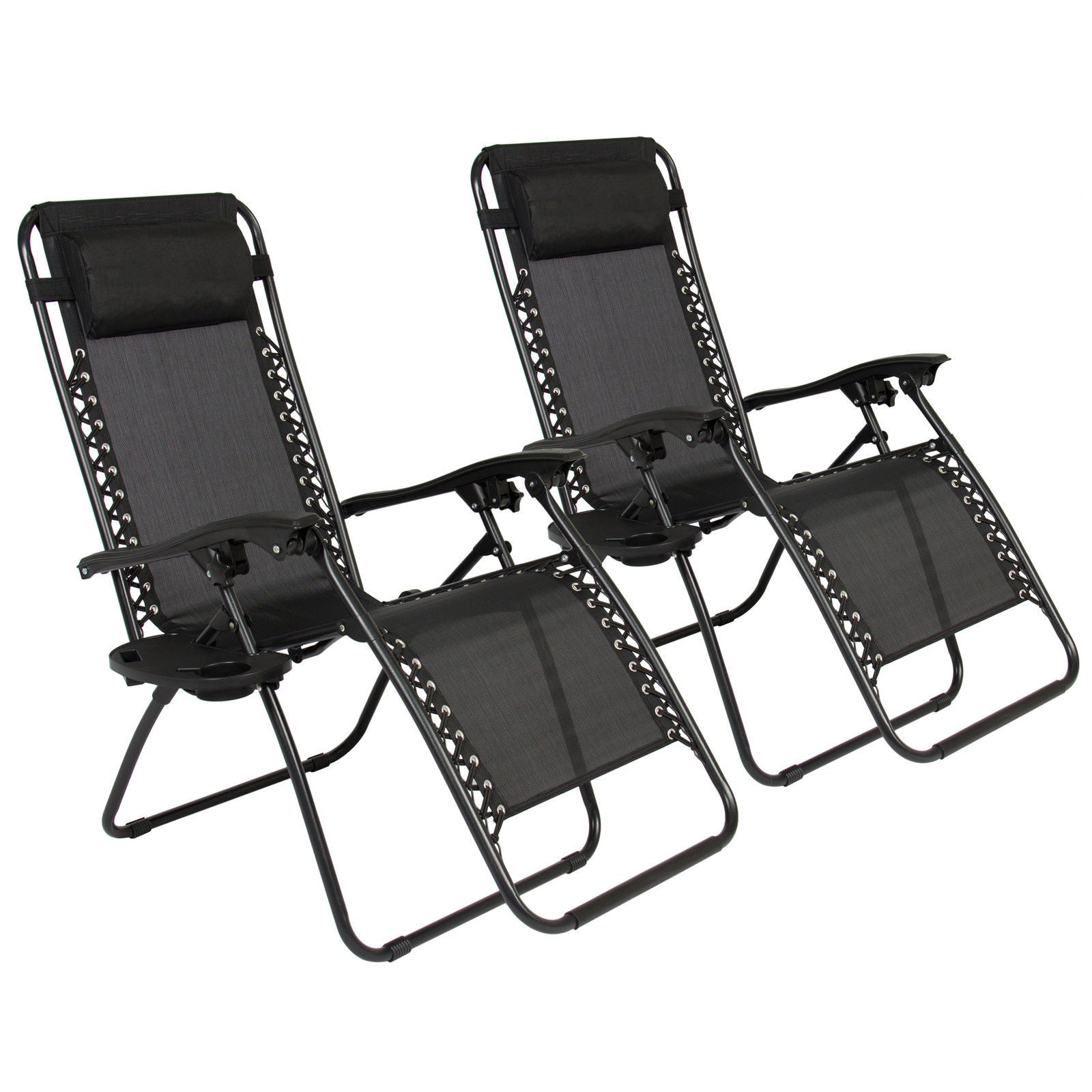 zero gravity chairs case of 2 black lounge patio outdoor yard beach new