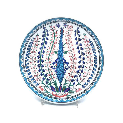 Iznik Deep Plate Cypress Tree and Hyacinth