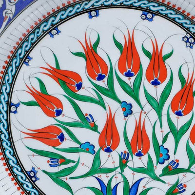 iznik ceramic plate coral red tulips