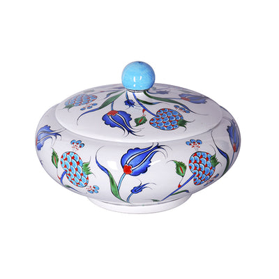 Iznik sugar bowl with pomegranate design