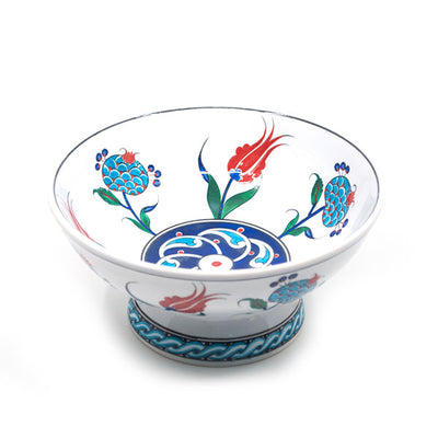 Iznik Pomegranate Design Footed Fruit Bowl
