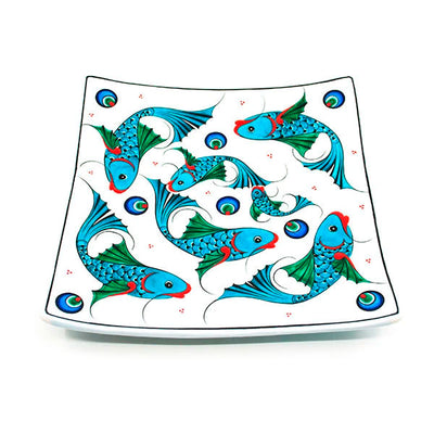 Iznik Fish design square serving plate