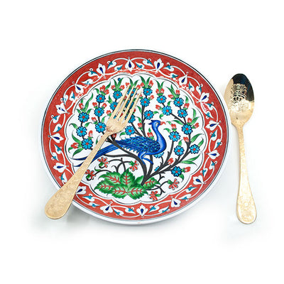 Iznik Tile Dinner Plate Peacock Design