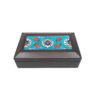 Iznik tiled box hand decorated with tulip pattern