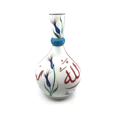 Iznik Vase Calligraphy Besmele with Tulips