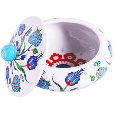 Iznik Bowl Pomegranate Design with Blue Tulips