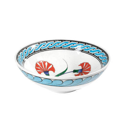 Iznik bowl decorated coral red carnations