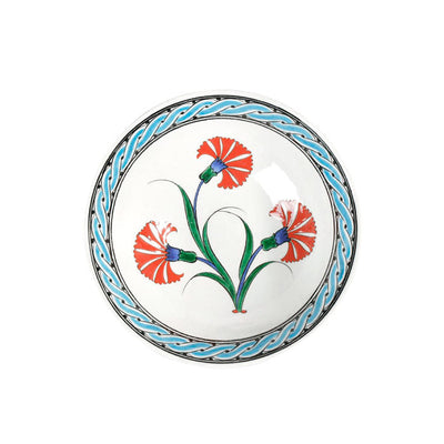 Iznik bowl coral red carnations