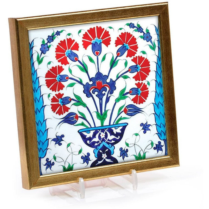 Gift - Iznik Tile | Bouquets Of Carnations And Tulips