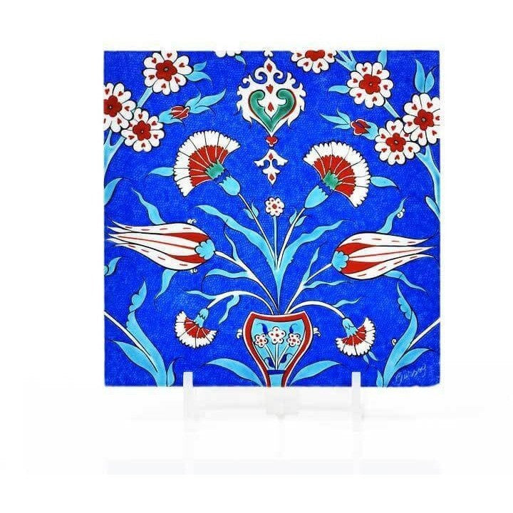 Gift - Iznik Tile | Carnations And Tulips - Cobalt Goround