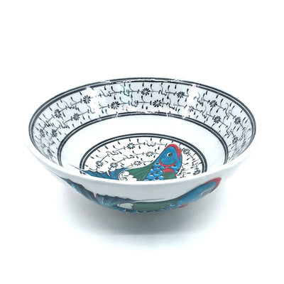 Turkish bowl black line golden horn design and turquoise fish