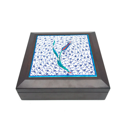 Iznik tile wood box hand decorated