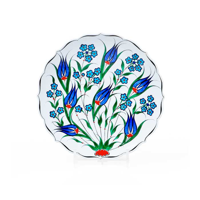 Iznik Plate Blue Tulips with Penc Flowers