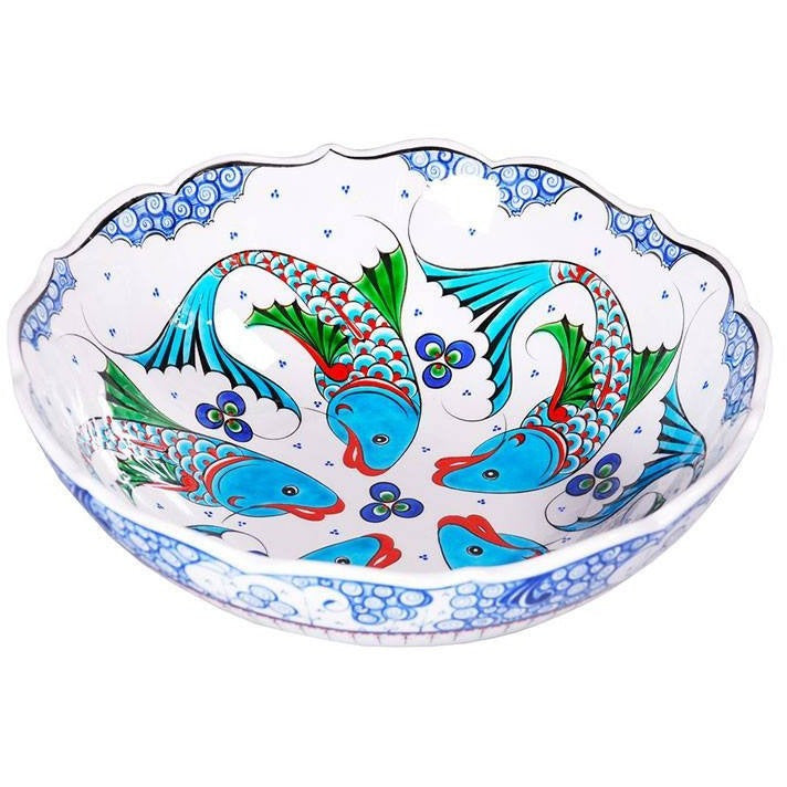 Iznik Bowl | Fishes With Chintemani Spots
