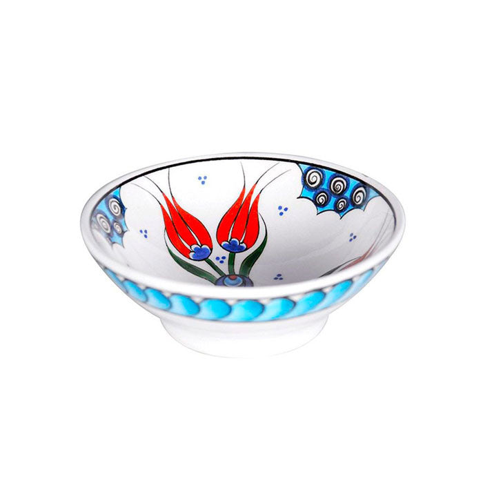 Iznik bowl with twin coral red tulips