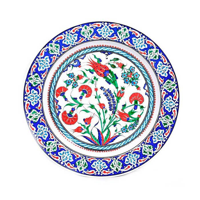 Iznik Plate Flowering Plant and Tulips