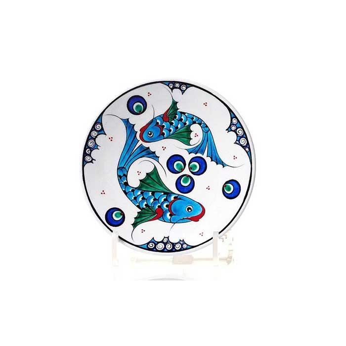 Iznik small plate fish design with cintemani motif