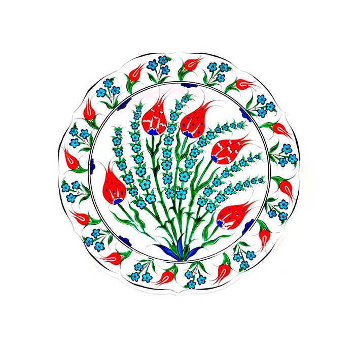 Iznik Plate Turquoise Penc Flowers with Red Tulips