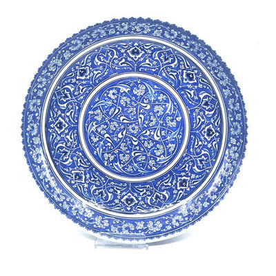 Blue-white iznik deep plate with peony flowers and rumi pattern