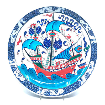 Iznik collection plate with beautiful sailing-ship