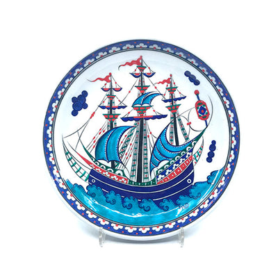 Iznik deep plate decorated with cobalt-blue Ottoman galleon