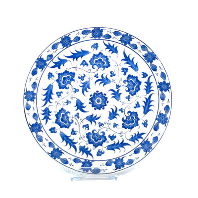 Lotus pattern iznik ceramic platter