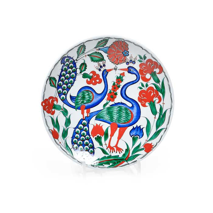 Iznik Plate Beautiful Peacock Design